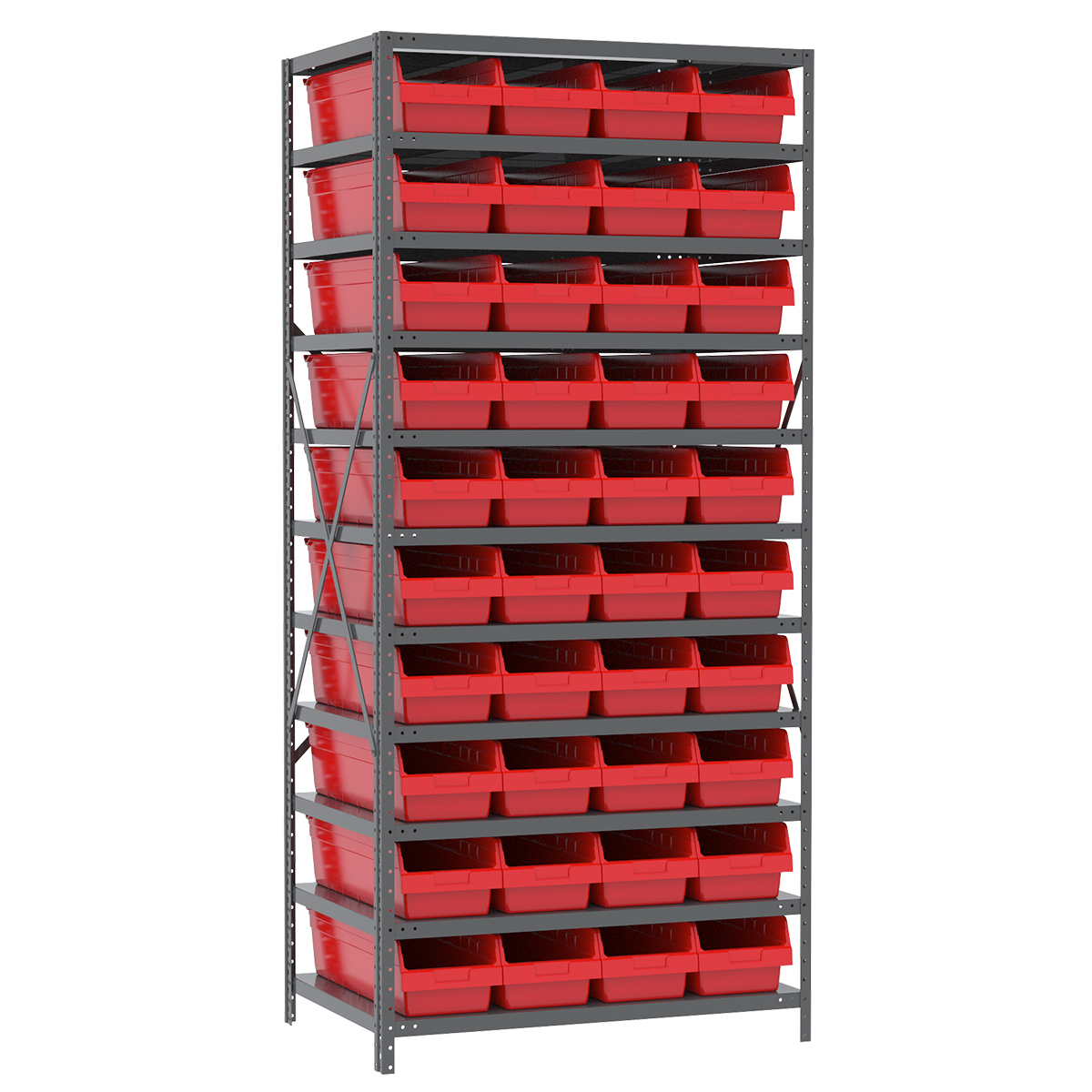 Steel Shelving Kit, 24x36x79, 42 Bins, Gray/Red.  This item sold in carton quantities of 1.