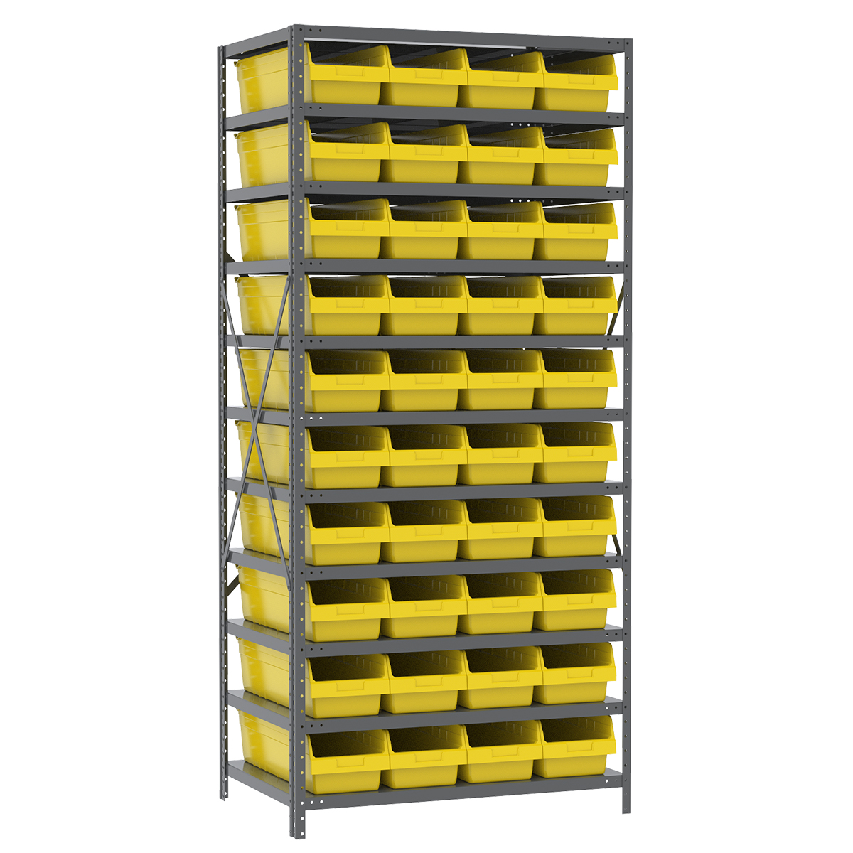 Steel Shelving Kit, 24x36x79, 42 Bins, Gray/Yellow.  This item sold in carton quantities of 1.