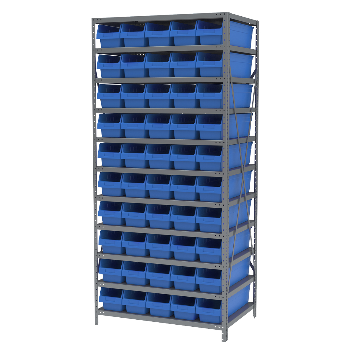 Steel Shelving Kit, 24x36x79, 50 Bins, Gray/Blue.  This item sold in carton quantities of 1.