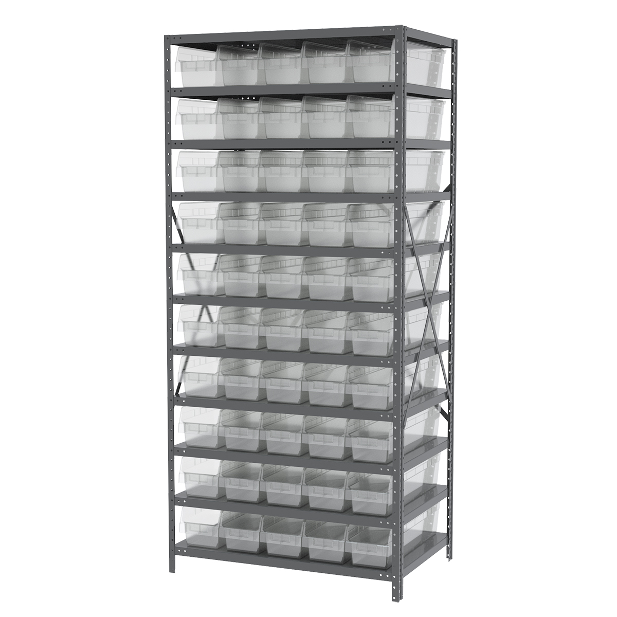 Steel Shelving Kit, 24x36x79, 50 Bins, Gray/Clear.  This item sold in carton quantities of 1.
