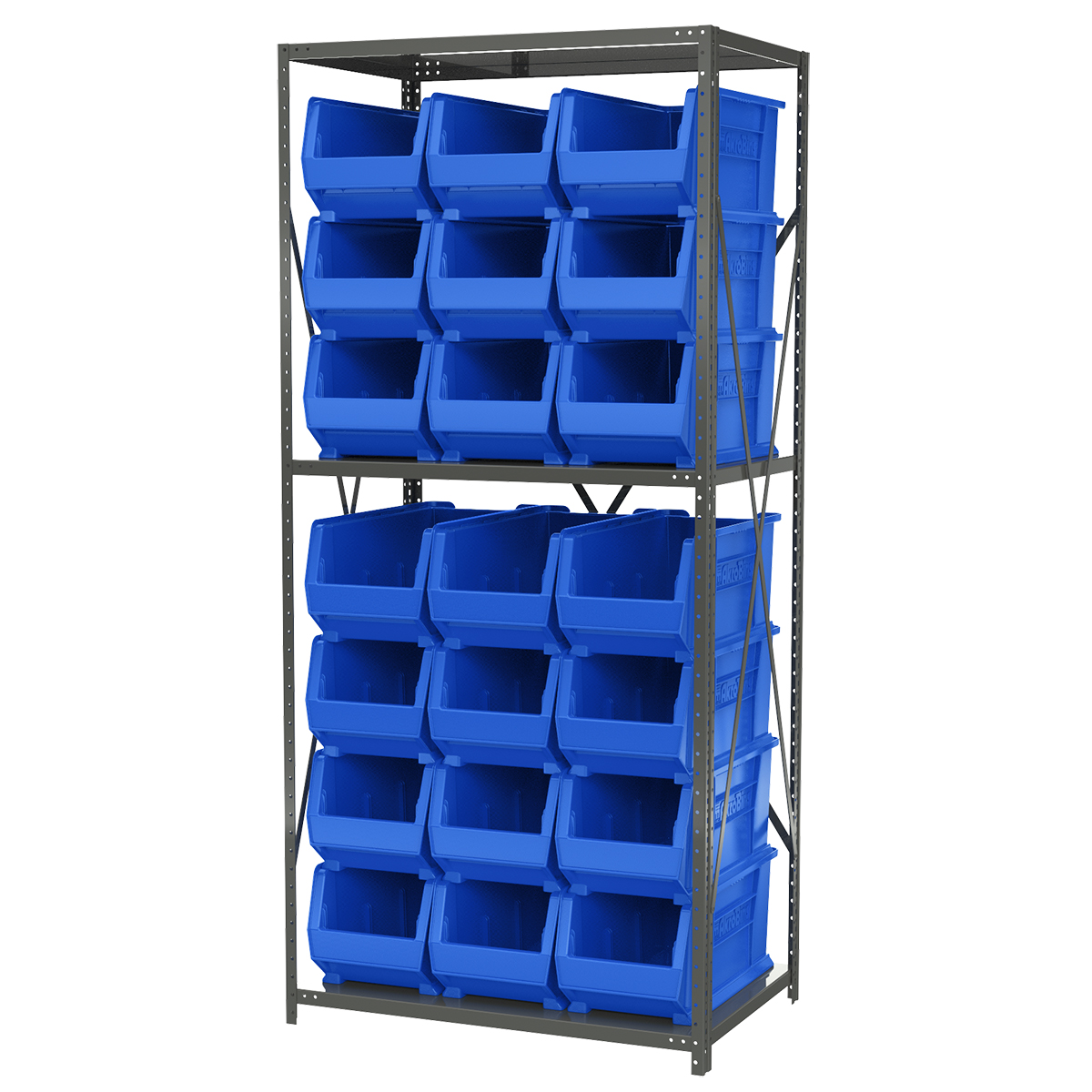 Steel Shelving Kit, 24x36x79, 24 Bins, Gray/Blue.  This item sold in carton quantities of 1.