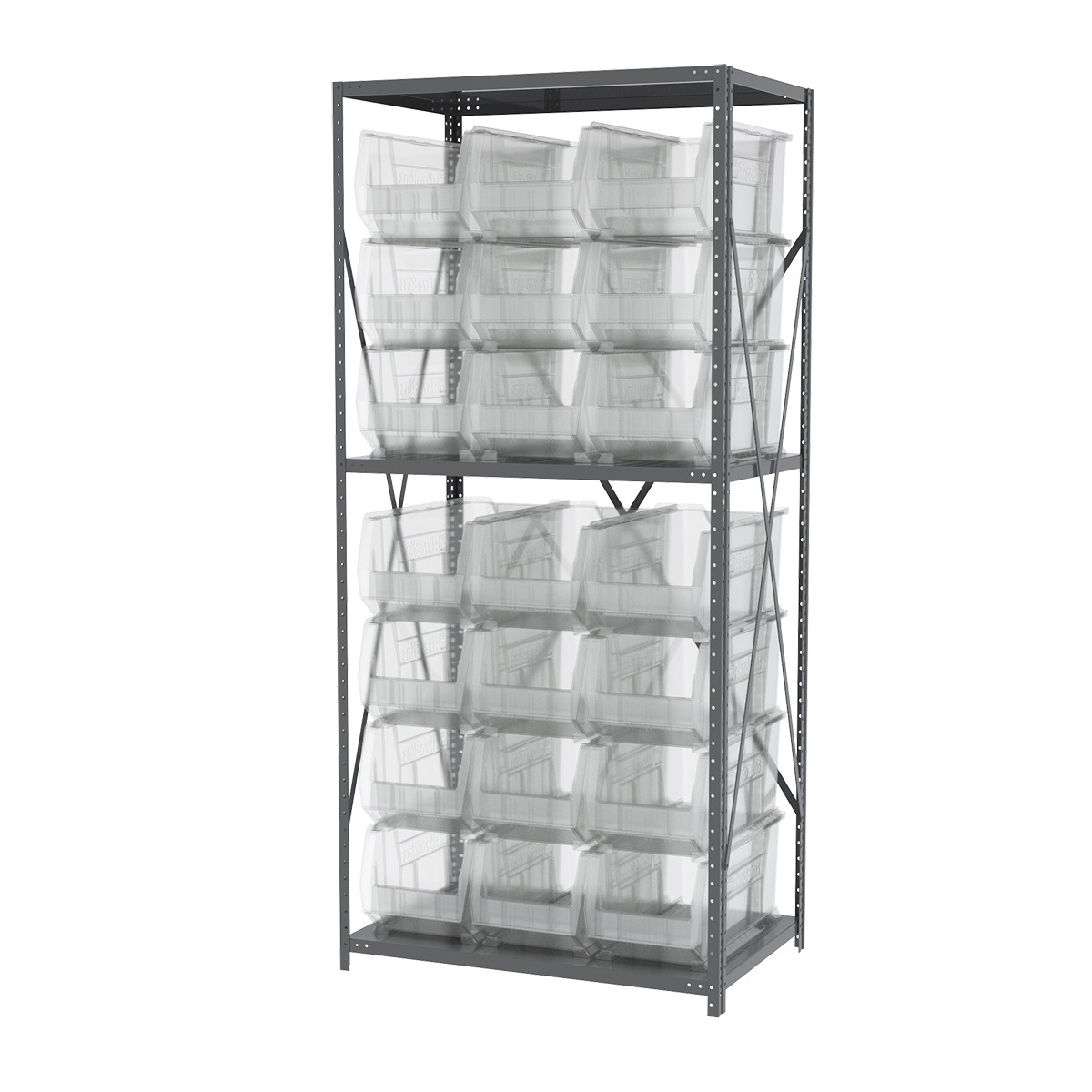 Steel Shelving Kit, 24x36x79, 24 Bins, Gray/Clear.  This item sold in carton quantities of 1.