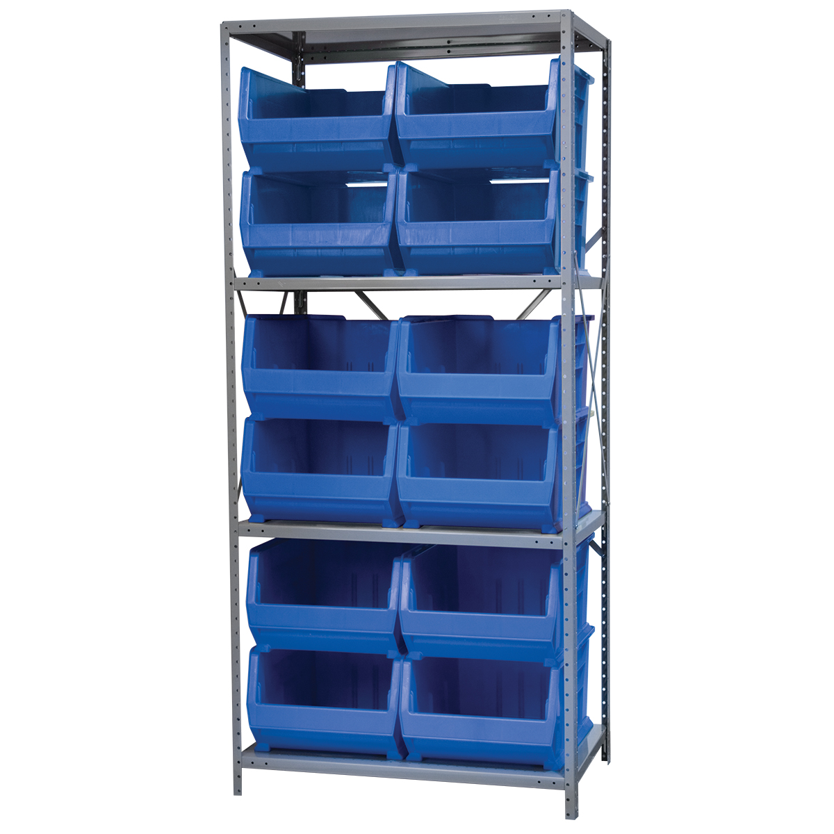Steel Shelving Kit, 24x36x79, 12 Bins, Gray/Blue.  This item sold in carton quantities of 1.