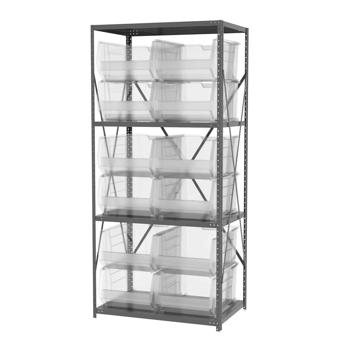 Steel Shelving Kit, 24x36x79, 12 Bins, Gray/Clear.  This item sold in carton quantities of 1.