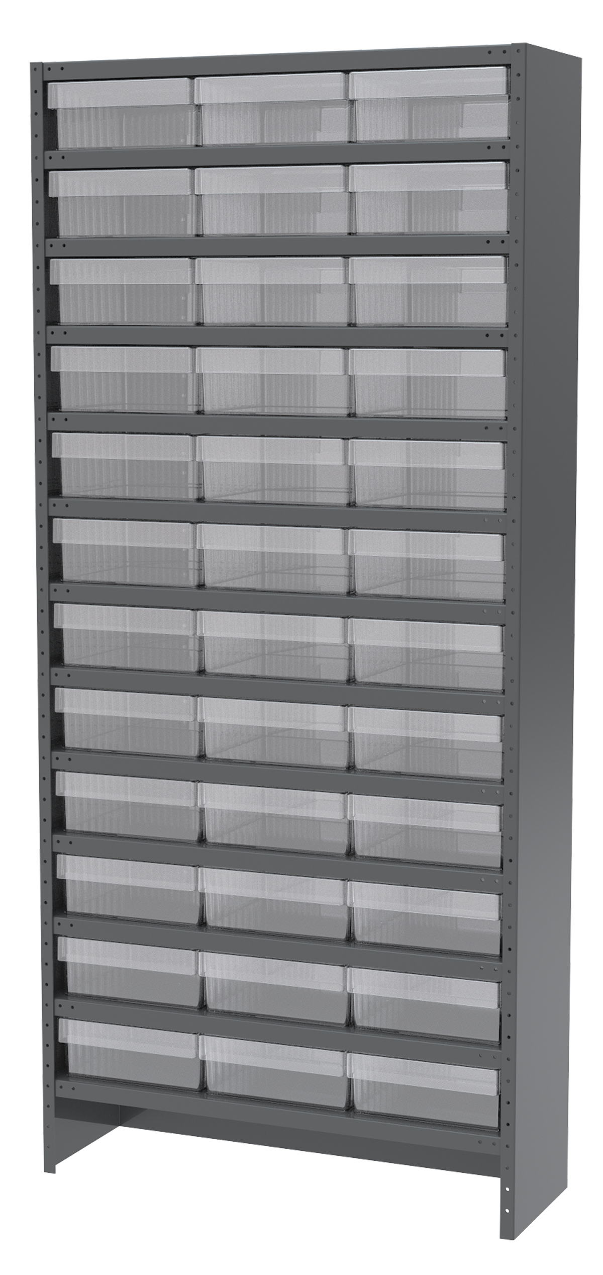 Enclosed Steel Shelving Kit, 12x36x79, 36 AkroDrawers, Gray/Clear.  This item sold in carton quantities of 1.