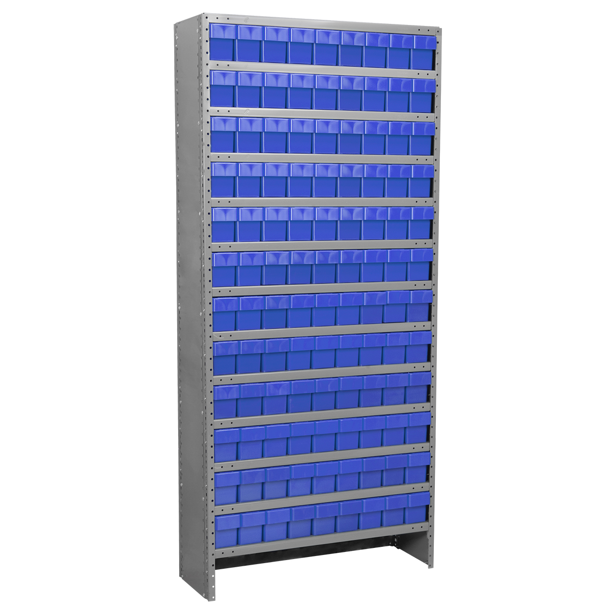 Enclosed Steel Shelving Kit, 12x36x79, 108 AkroDrawers, Gray/Blue.  This item sold in carton quantities of 1.