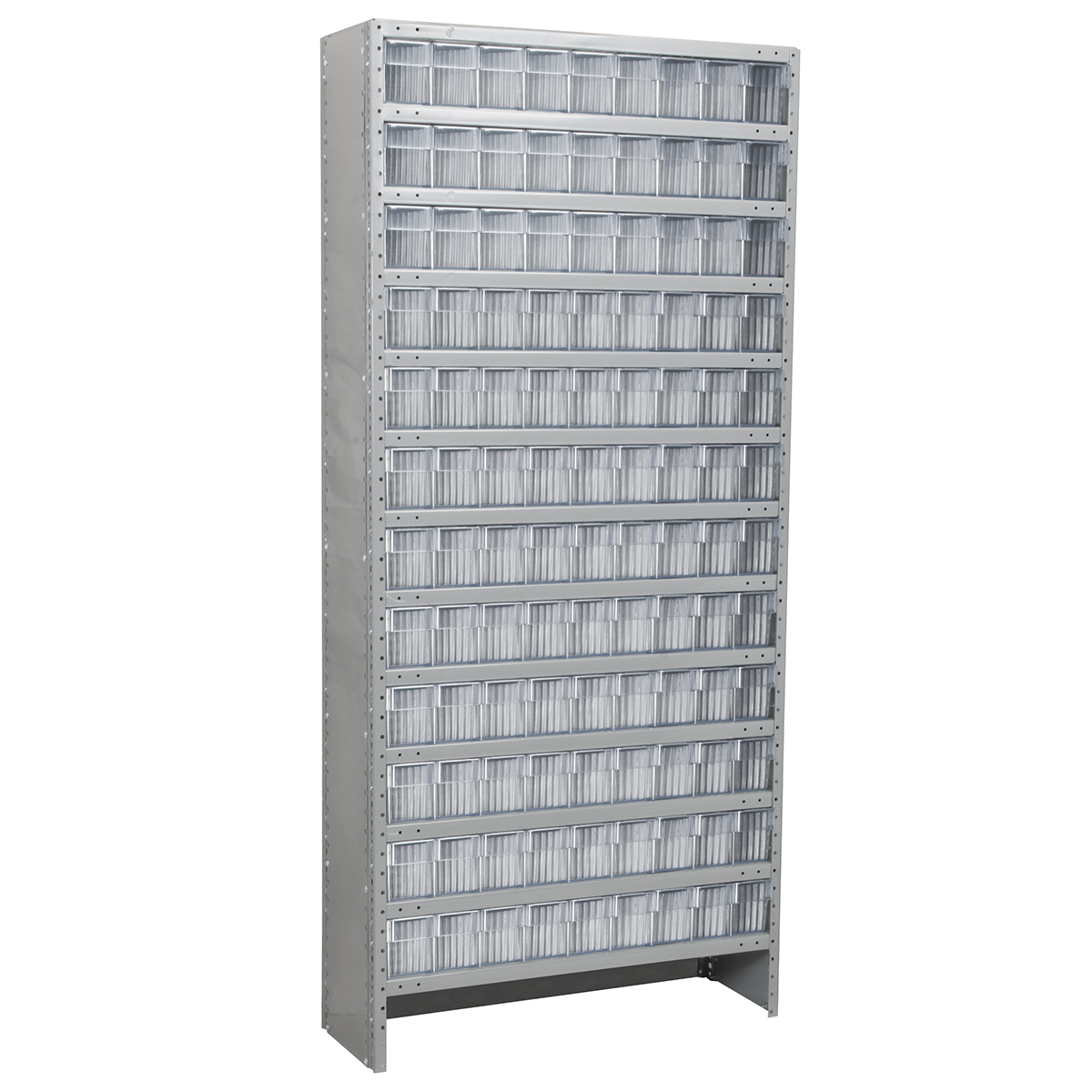 Enclosed Steel Shelving Kit, 12x36x79, 108 AkroDrawers, Gray/Clear.  This item sold in carton quantities of 1.