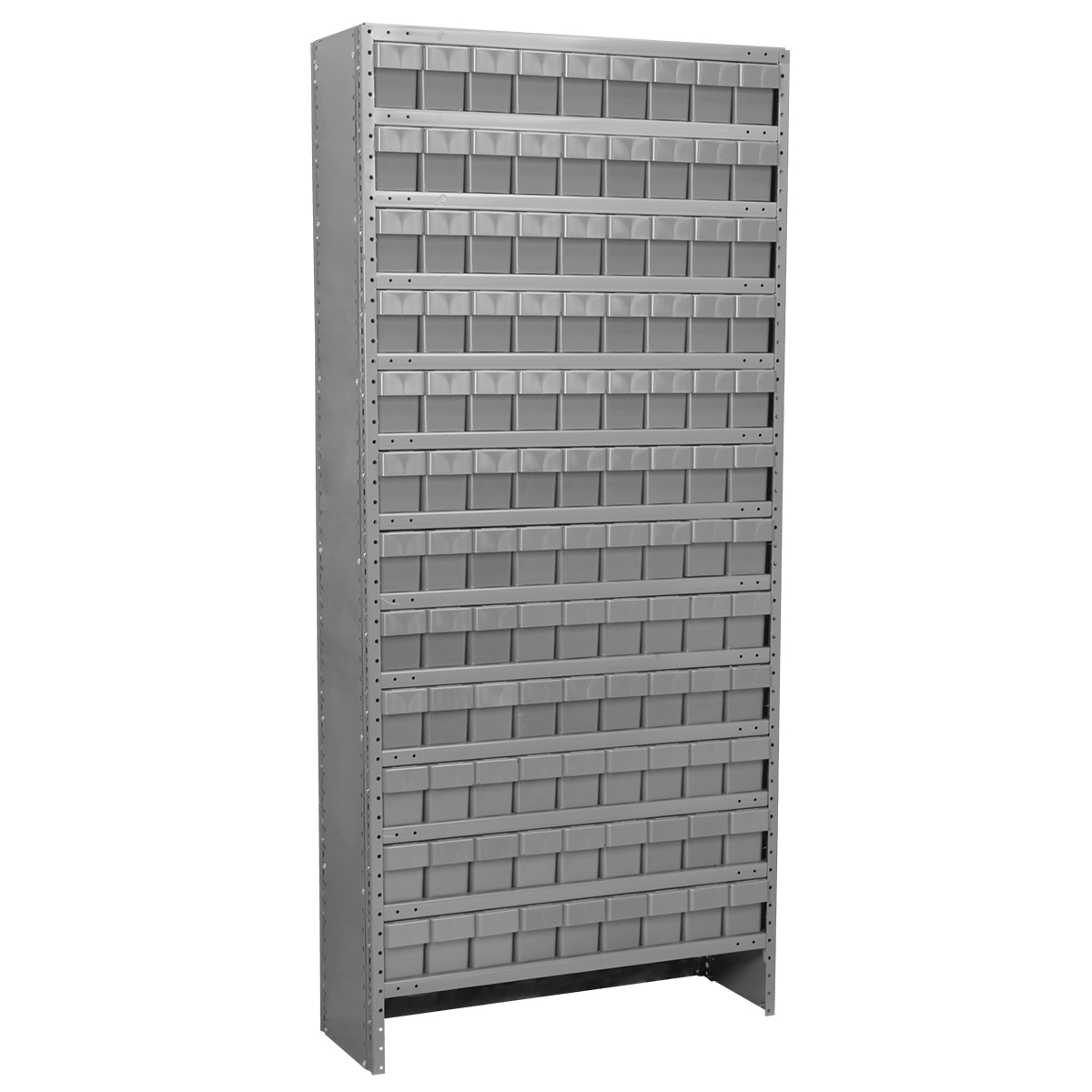 Enclosed Steel Shelving Kit, 12x36x79, 108 AkroDrawers, Gray/Gray.  This item sold in carton quantities of 1.