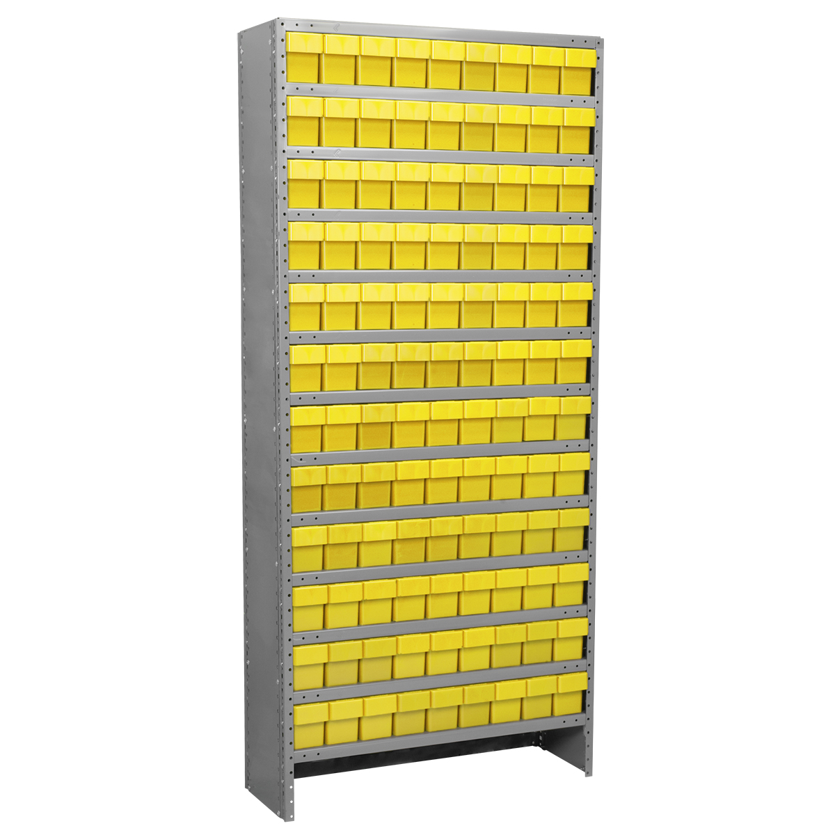 Enclosed Steel Shelving Kit, 12x36x79, 108 AkroDrawers, Gray/Yellow.  This item sold in carton quantities of 1.