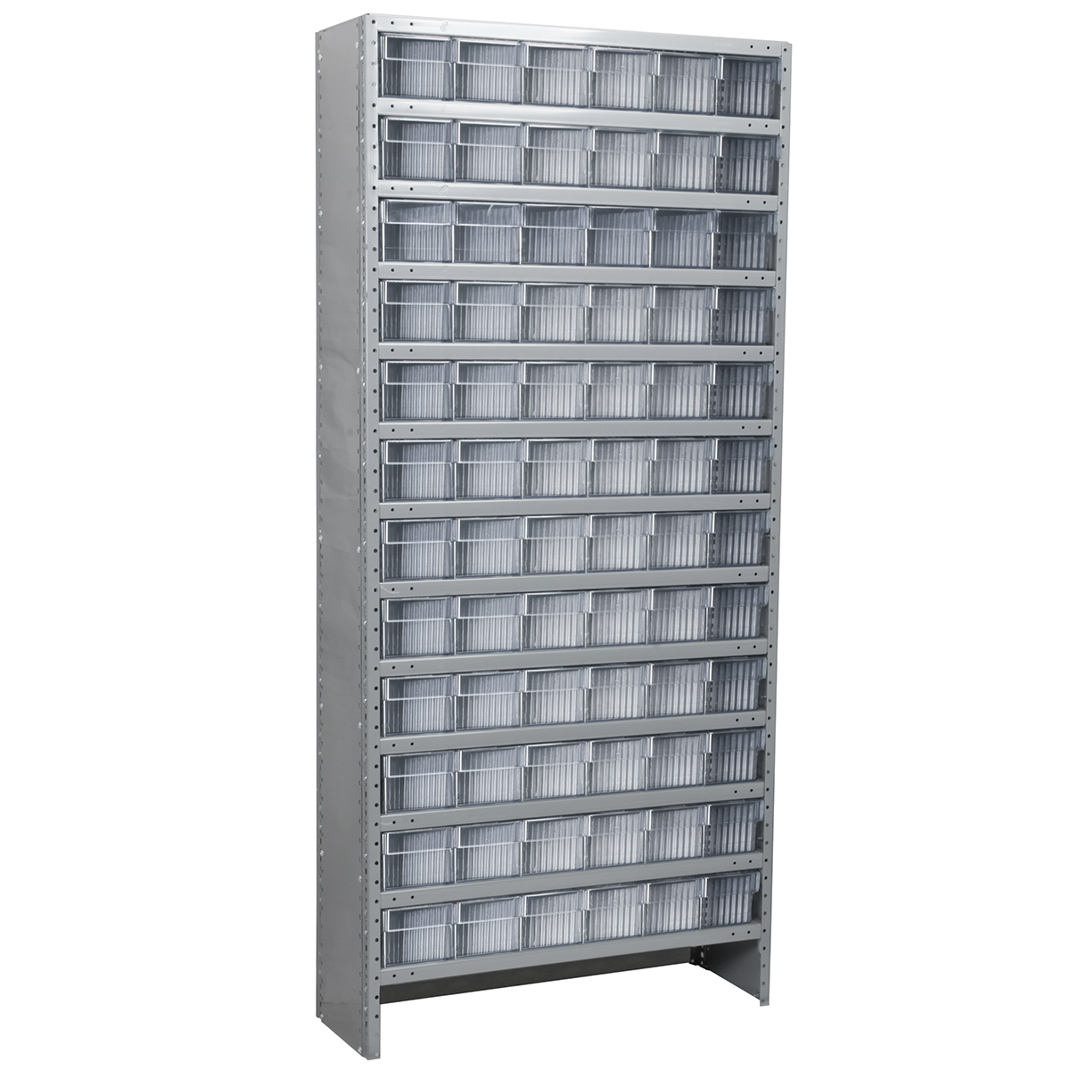 Enclosed Steel Shelving Kit, 12x36x79, 72 AkroDrawers, Gray/Clear.  This item sold in carton quantities of 1.