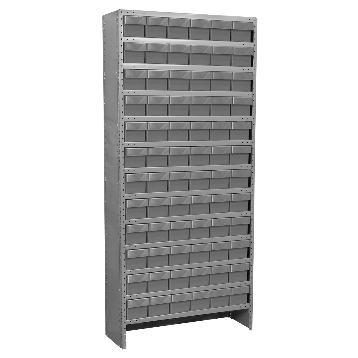 Enclosed Steel Shelving Kit, 12x36x79, 72 AkroDrawers, Gray/Gray.  This item sold in carton quantities of 1.