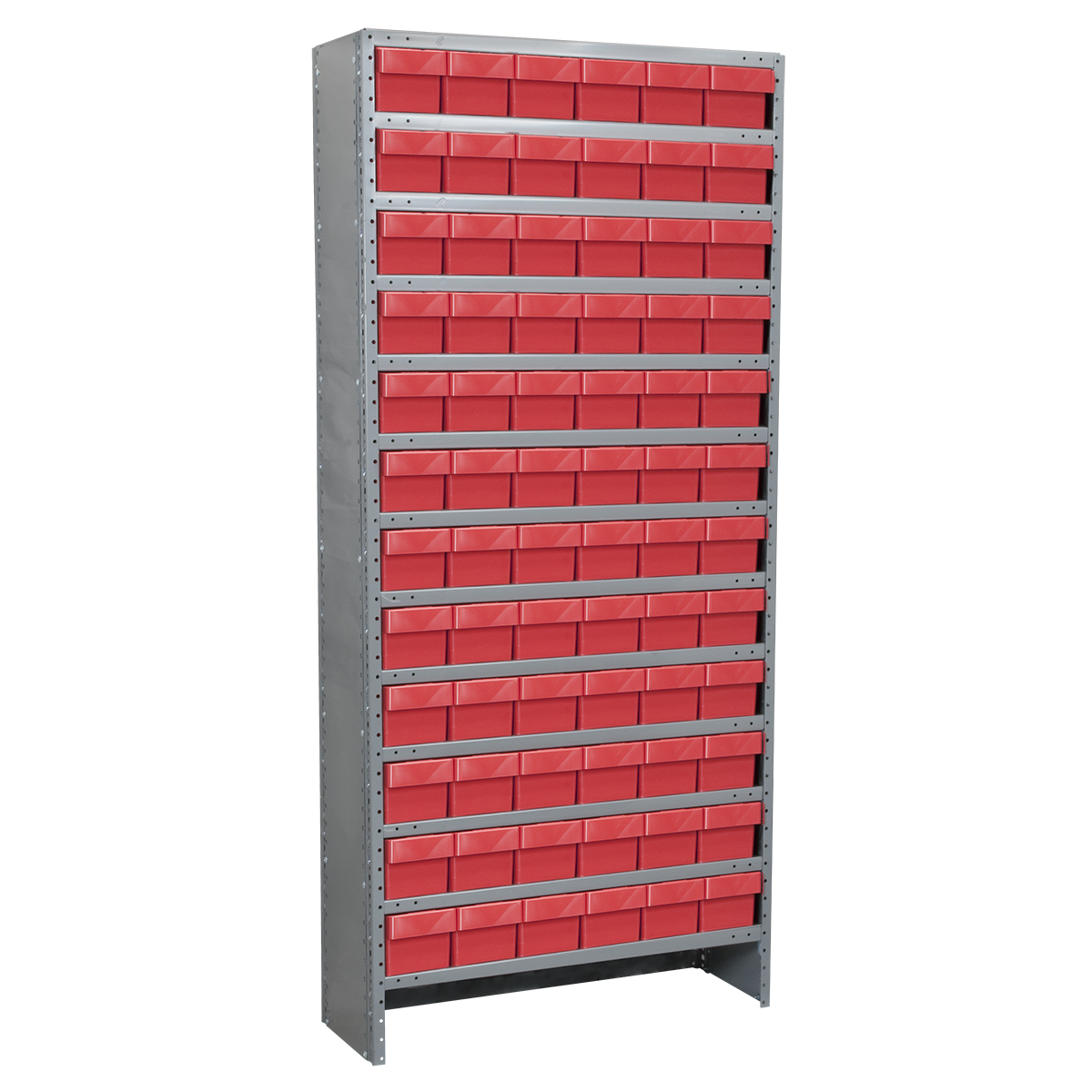 Enclosed Steel Shelving Kit, 12x36x79, 72 AkroDrawers, Gray/Red.  This item sold in carton quantities of 1.