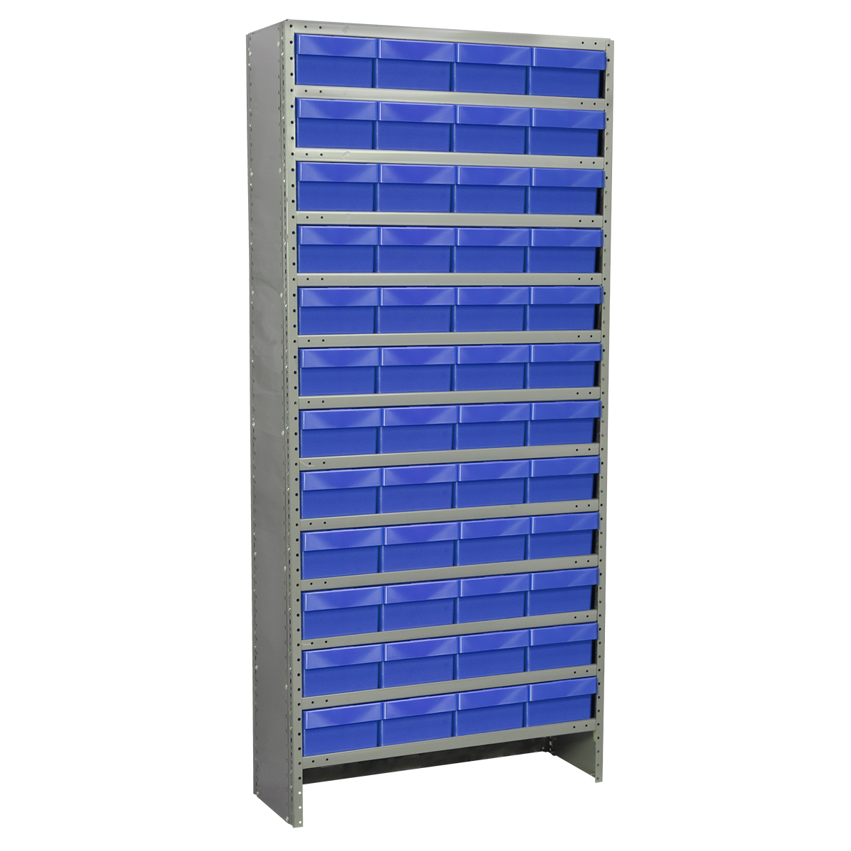 Enclosed Steel Shelving Kit, 12x36x79, 72 AkroDrawers, Gray/Blue.  This item sold in carton quantities of 1.