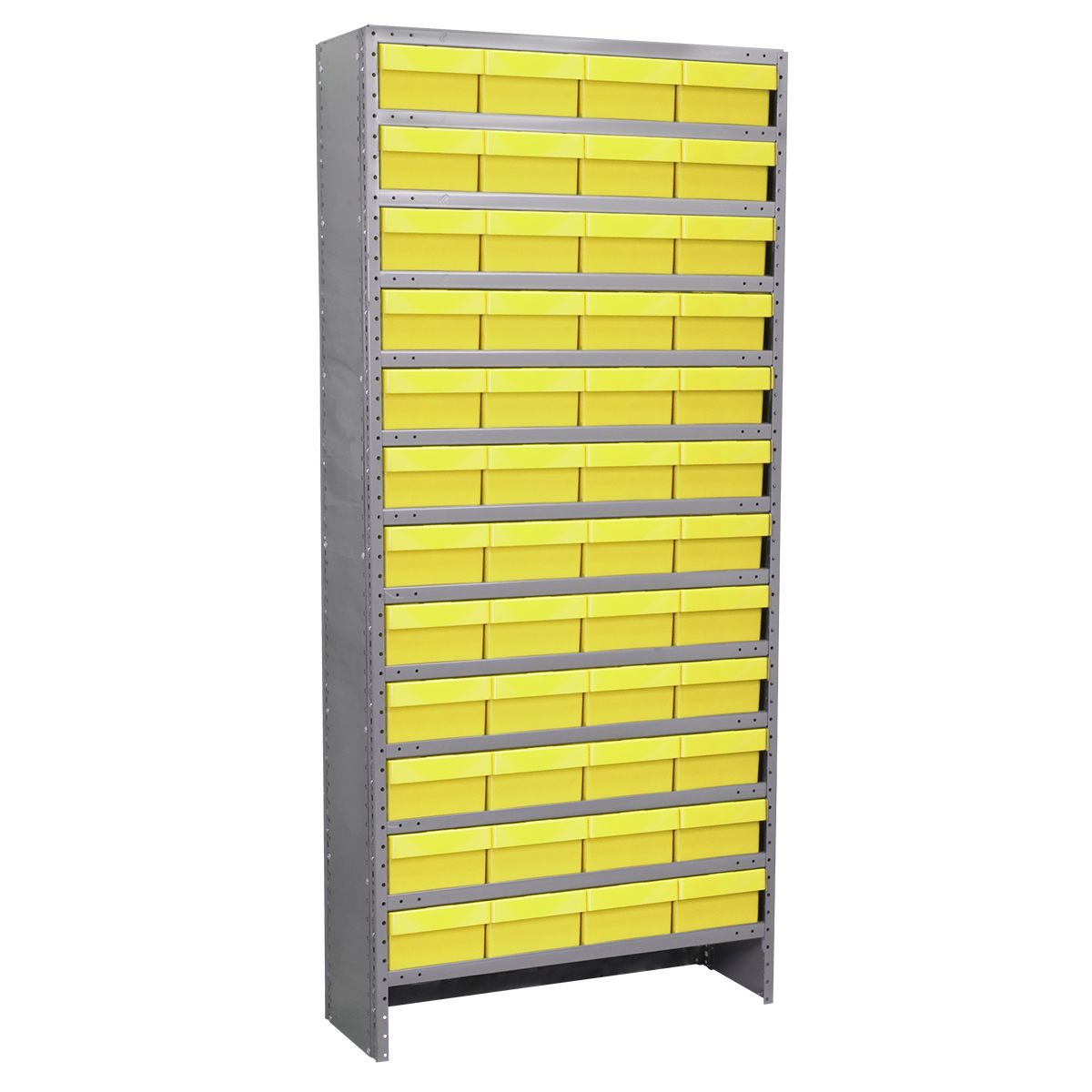 Enclosed Steel Shelving Kit, 12x36x79, 72 AkroDrawers, Gray/Yellow.  This item sold in carton quantities of 1.