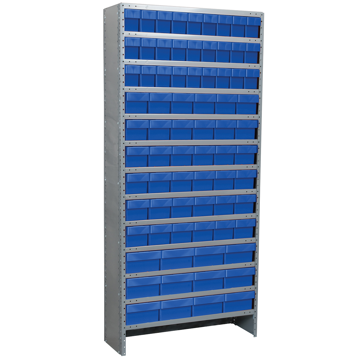 Enclosed Steel Shelving Kit, 12x36x79, 78 AkroDrawers, Gray/Blue.  This item sold in carton quantities of 1.