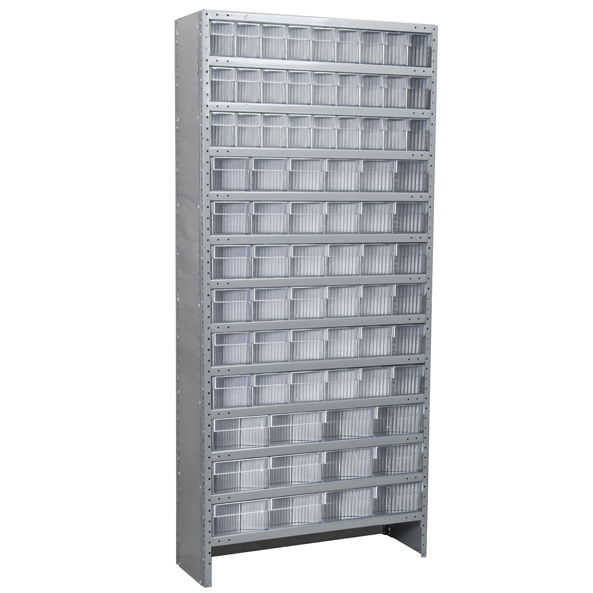 Enclosed Steel Shelving Kit, 12x36x79, 78 AkroDrawers, Gray/Clear.  This item sold in carton quantities of 1.