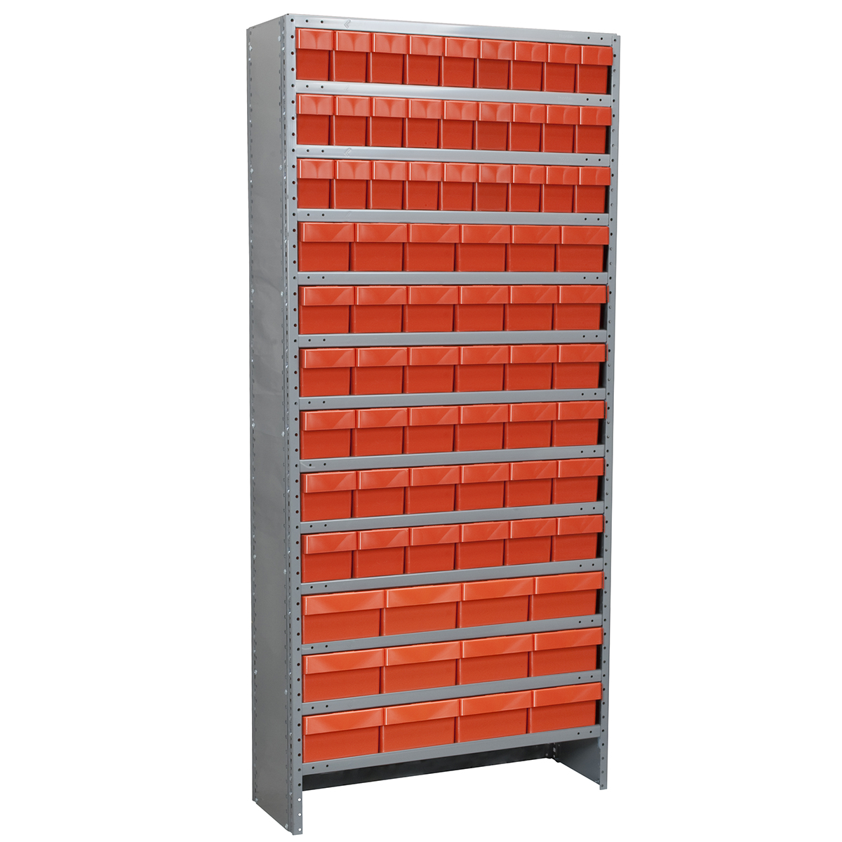 Enclosed Steel Shelving Kit, 12x36x79, 78 AkroDrawers, Gray/Red.  This item sold in carton quantities of 1.