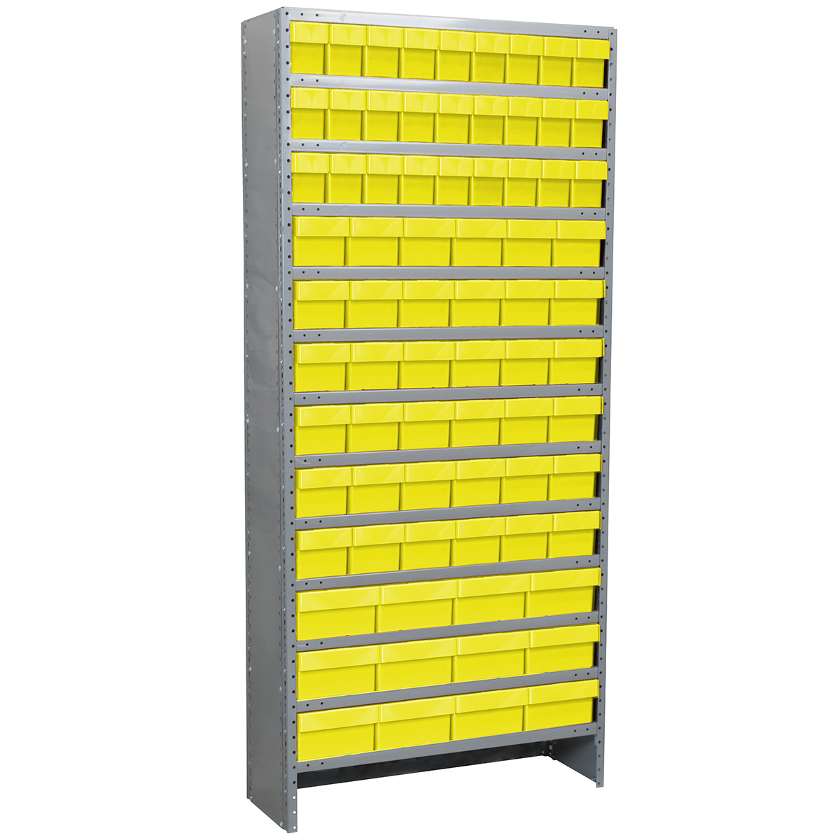 Enclosed Steel Shelving Kit, 12x36x79, 78 AkroDrawers, Gray/Yellow.  This item sold in carton quantities of 1.