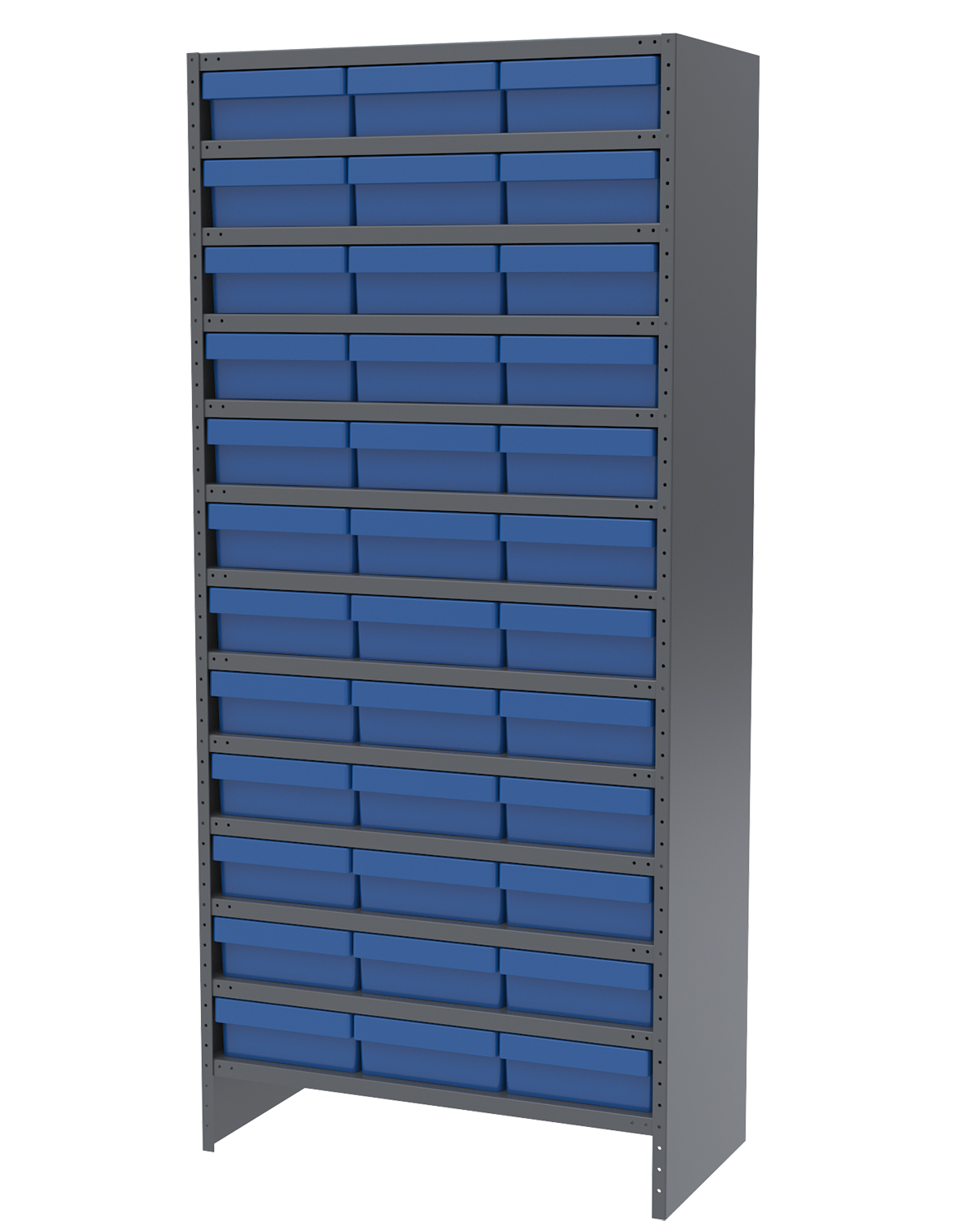 Enclosed Steel Shelving Kit, 18x36x79, 36 AkroDrawers, Gray/Blue.  This item sold in carton quantities of 1.