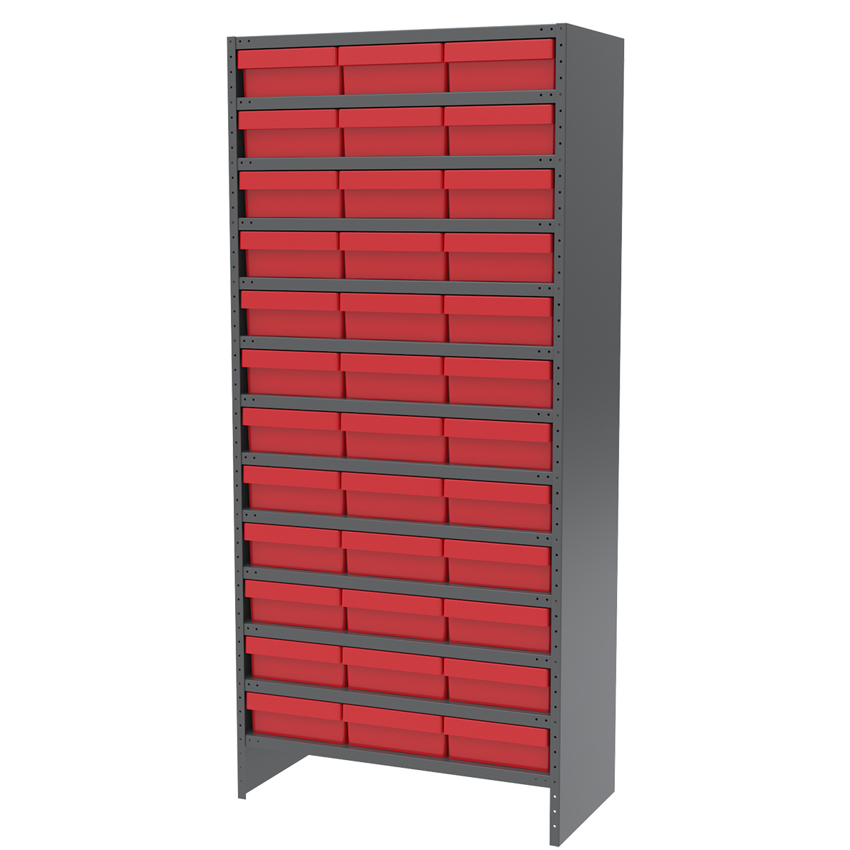 Enclosed Steel Shelving Kit, 18x36x79, 36 AkroDrawers, Gray/Red.  This item sold in carton quantities of 1.