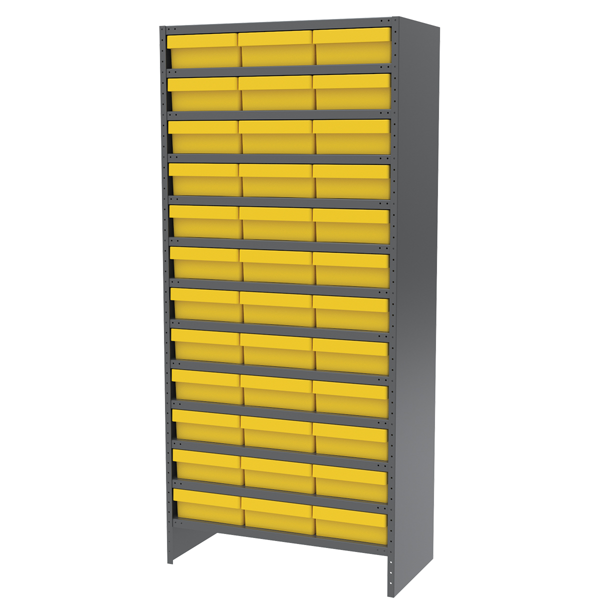 Enclosed Steel Shelving Kit, 18x36x79, 36 AkroDrawers, Gray/Yellow.  This item sold in carton quantities of 1.