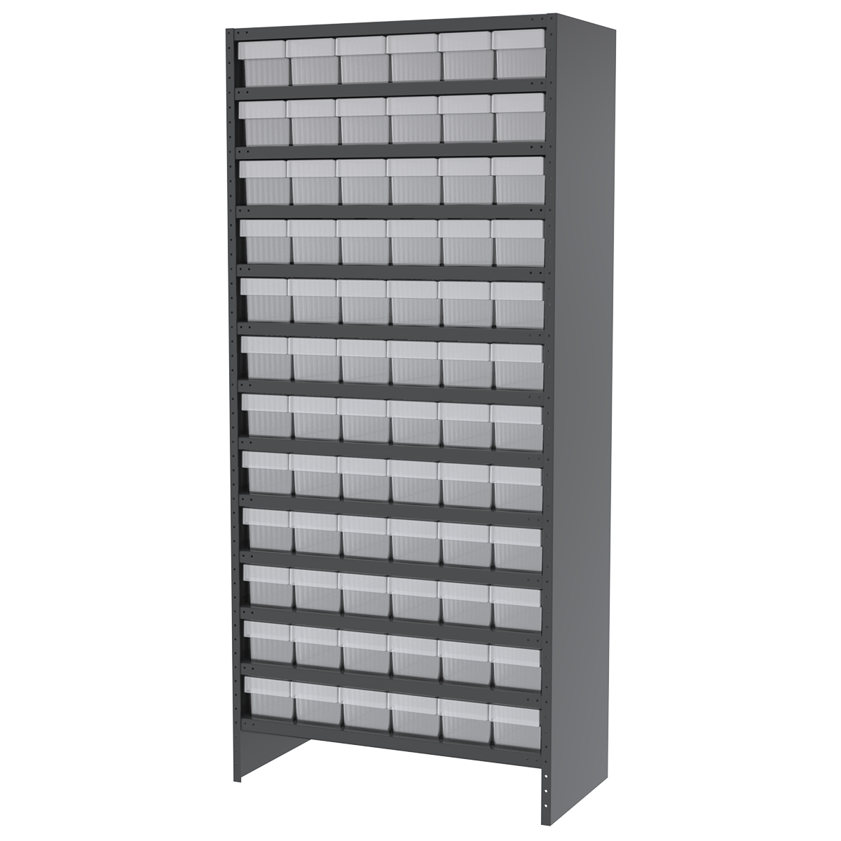 Enclosed Steel Shelving Kit, 18x36x79, 72 AkroDrawers, Gray/Clear.  This item sold in carton quantities of 1.