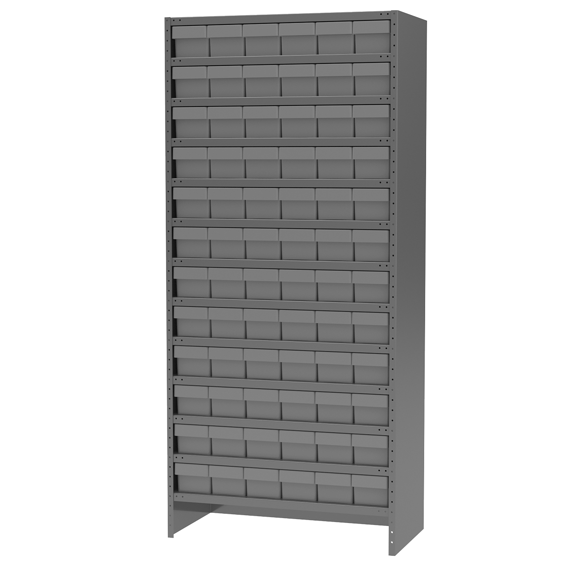 Enclosed Steel Shelving Kit, 18x36x79, 72 AkroDrawers, Gray/Gray.  This item sold in carton quantities of 1.