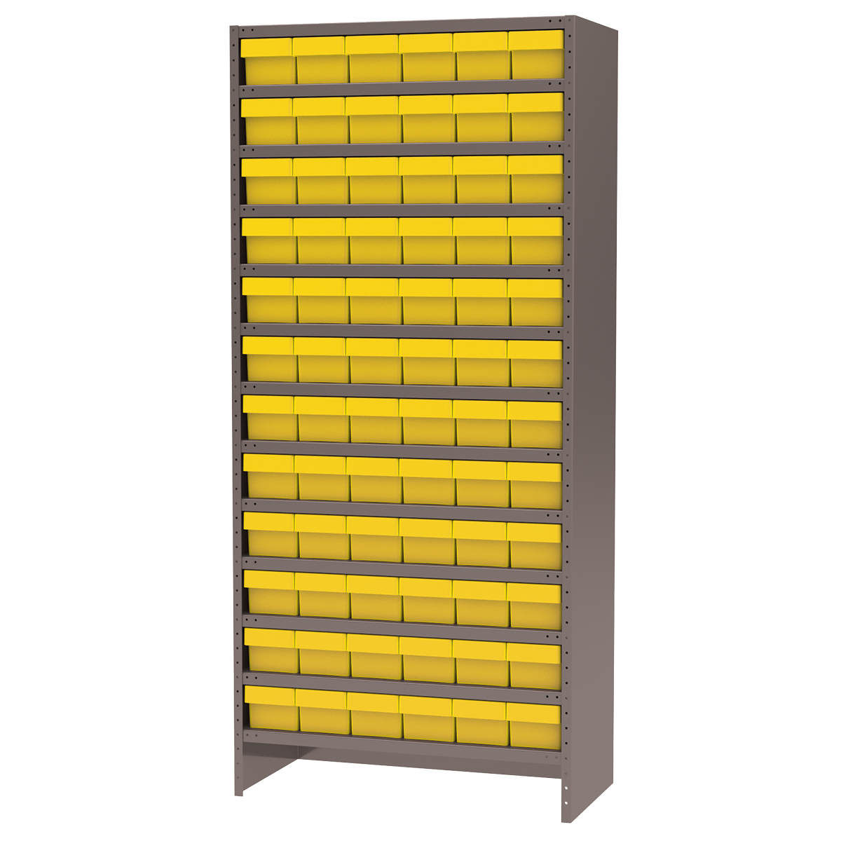 Enclosed Steel Shelving Kit, 18x36x79, 72 AkroDrawers, Gray/Yellow.  This item sold in carton quantities of 1.