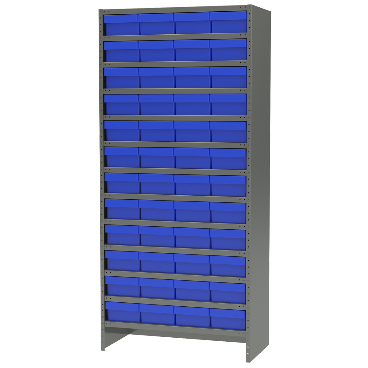 Enclosed Steel Shelving Kit, 18x36x79, 48 AkroDrawers, Gray/Blue.  This item sold in carton quantities of 1.