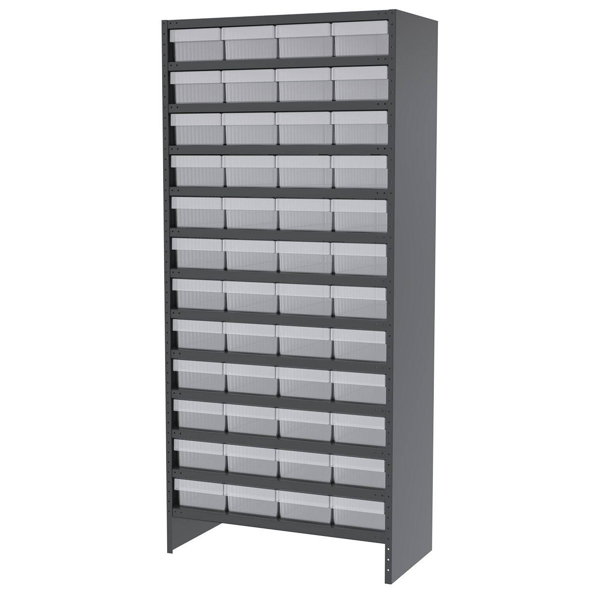 Enclosed Steel Shelving Kit, 18x36x79, 48 AkroDrawers, Gray/Clear.  This item sold in carton quantities of 1.