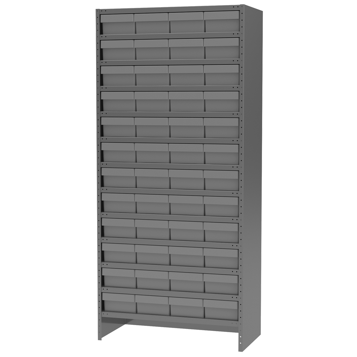 Enclosed Steel Shelving Kit, 18x36x79, 48 AkroDrawers, Gray/Gray.  This item sold in carton quantities of 1.