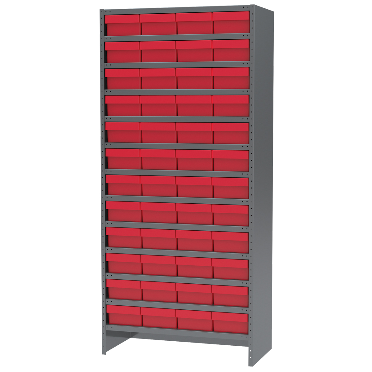 Enclosed Steel Shelving Kit, 18x36x79, 48 AkroDrawers, Gray/Red.  This item sold in carton quantities of 1.
