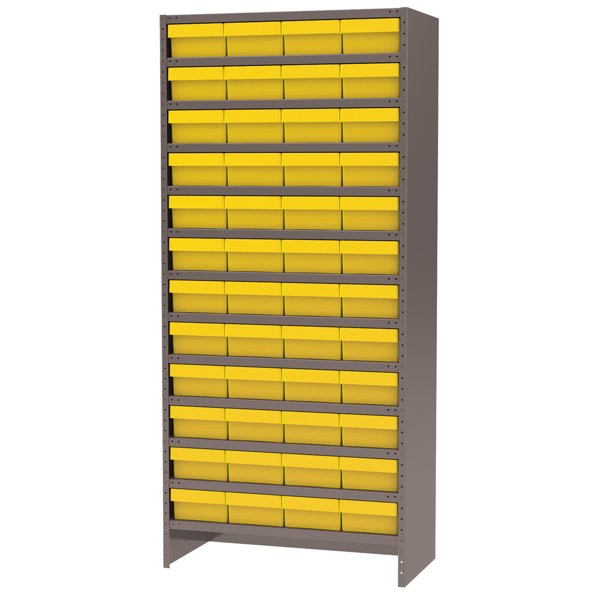 Enclosed Steel Shelving Kit, 18x36x79, 48 AkroDrawers, Gray/Yellow.  This item sold in carton quantities of 1.