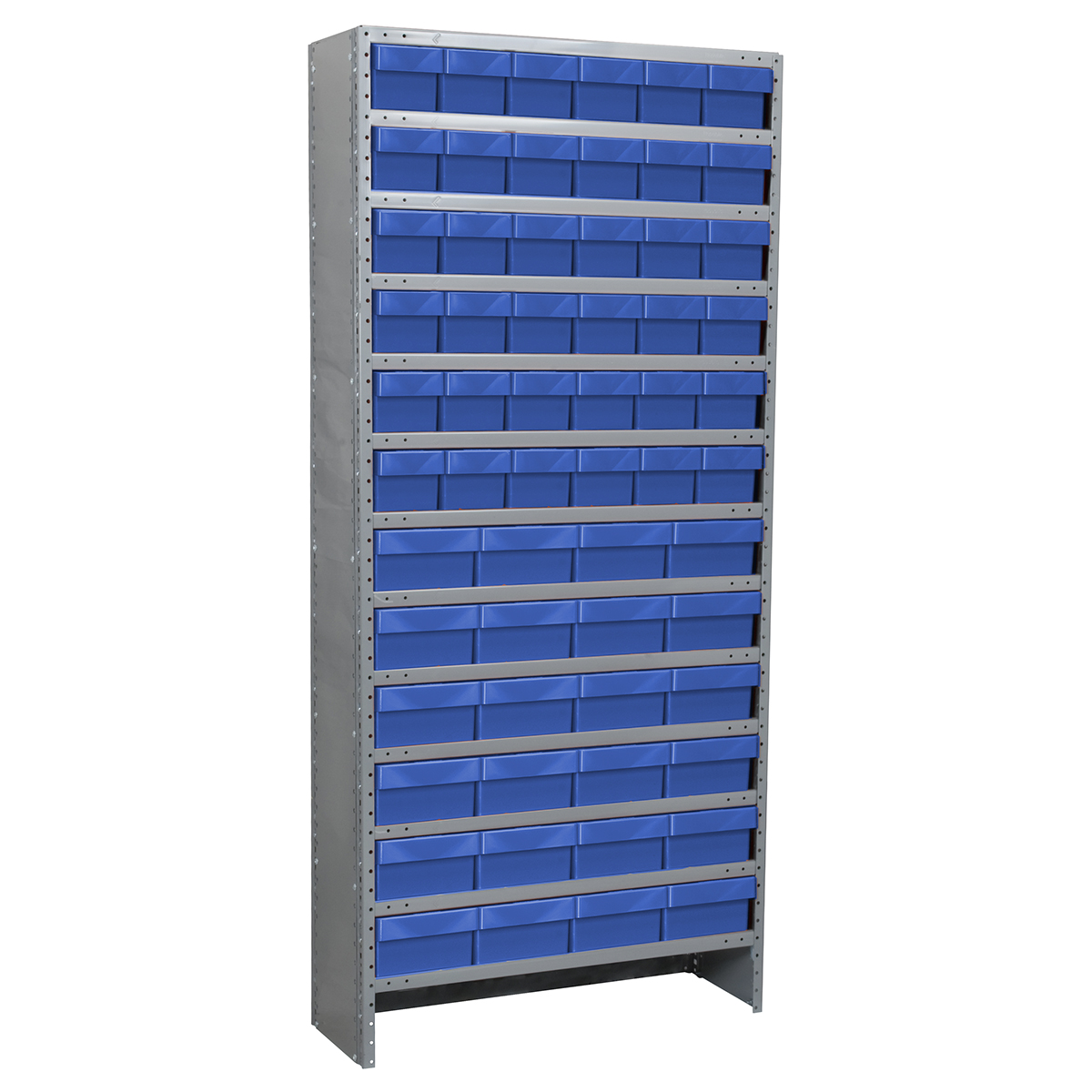 Enclosed Steel Shelving Kit, 18x36x79, 60 AkroDrawers, Gray/Blue.  This item sold in carton quantities of 1.