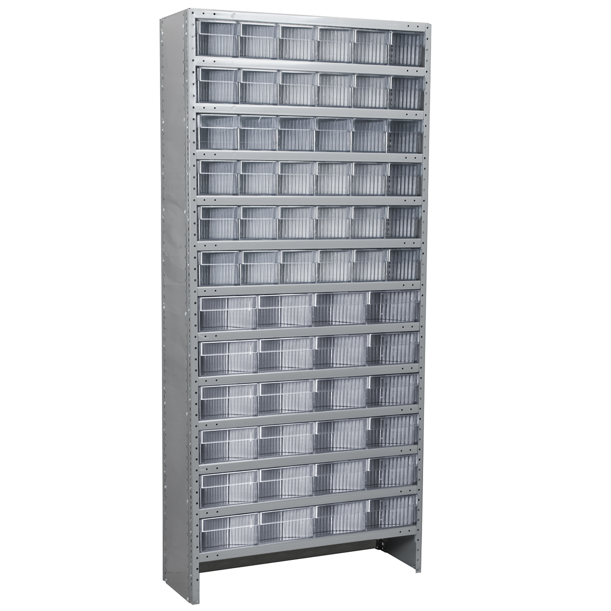 Enclosed Steel Shelving Kit, 18x36x79, 60 AkroDrawers, Gray/Clear.  This item sold in carton quantities of 1.
