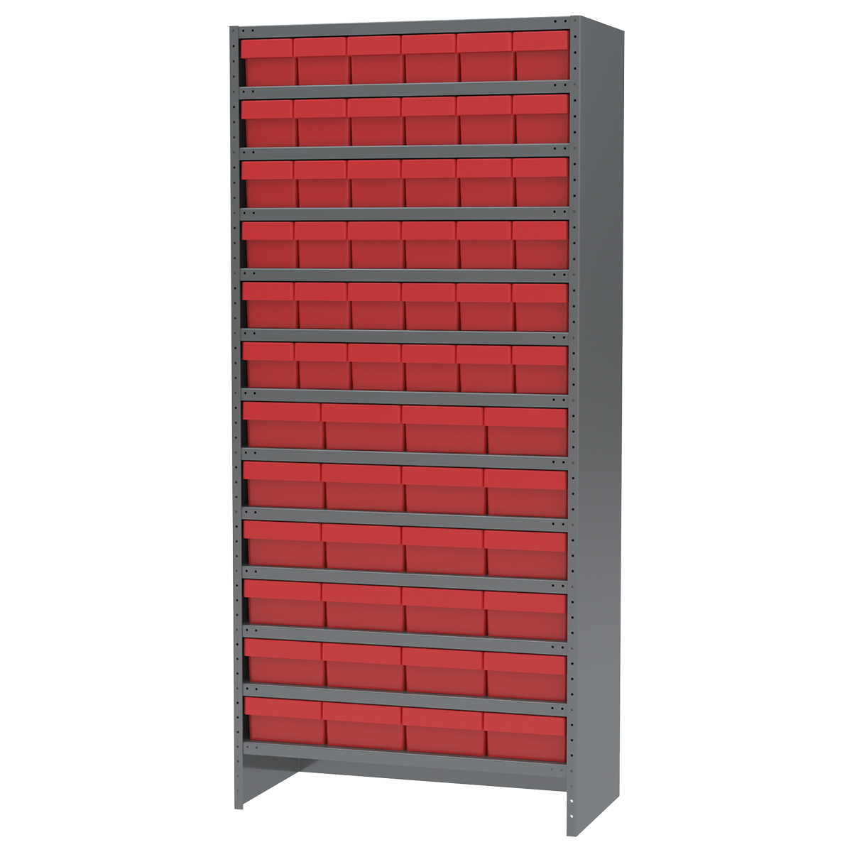 Enclosed Steel Shelving Kit, 18x36x79, 60 AkroDrawers, Gray/Red.  This item sold in carton quantities of 1.