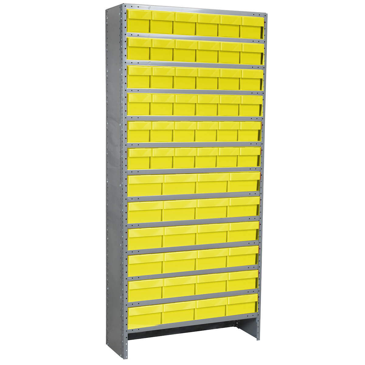 Enclosed Steel Shelving Kit, 18x36x79, 60 AkroDrawers, Gray/Yellow.  This item sold in carton quantities of 1.