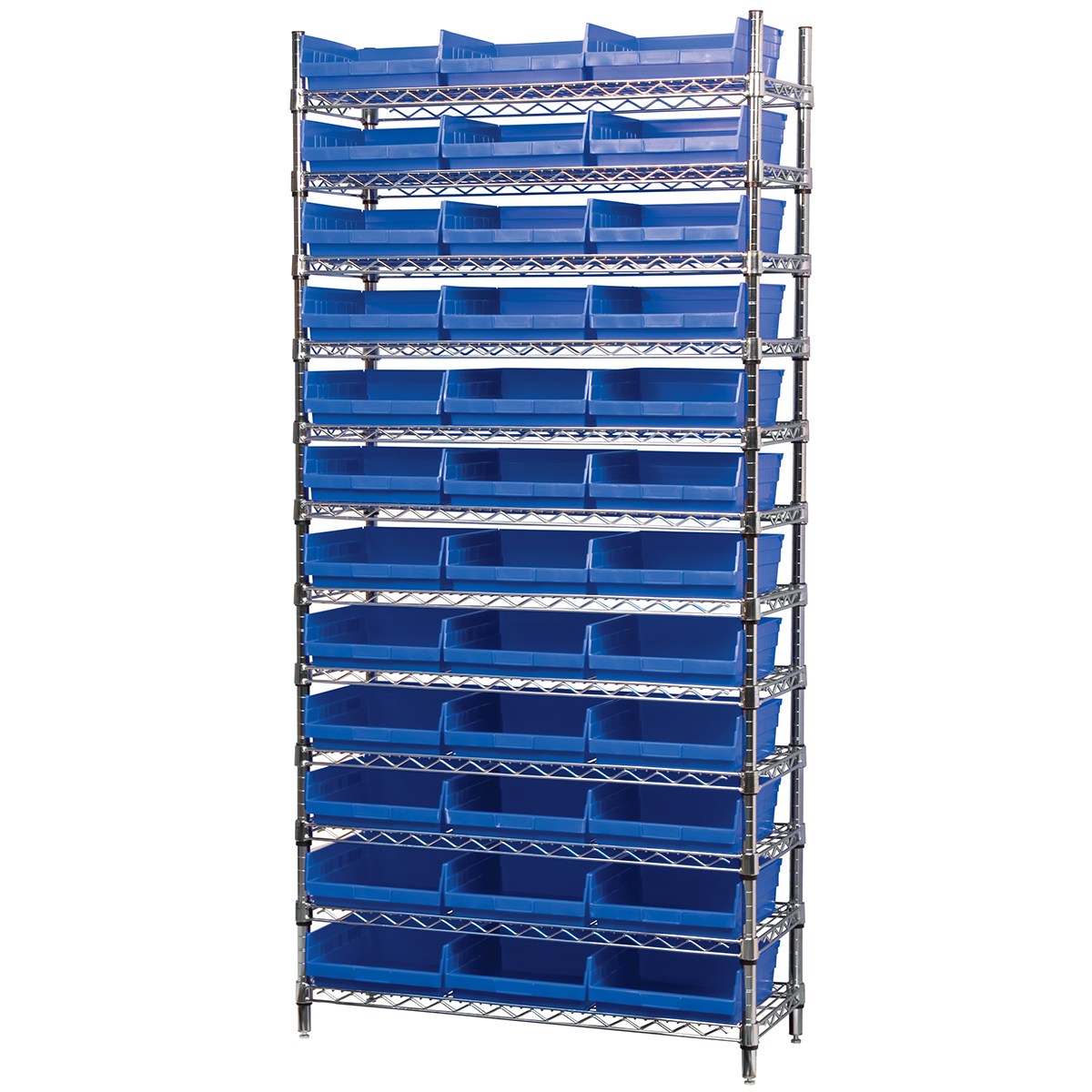 Wire Shelving Kit, 14x36x74, 36 Bins, Chrome/Blue (AWS143630170B).  This item sold in carton quantities of 1.