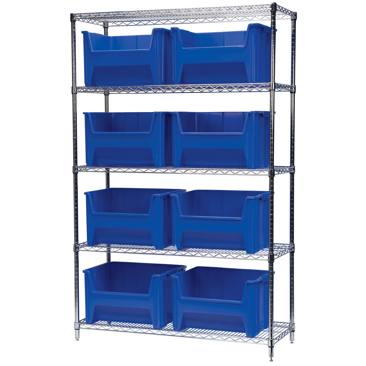 Wire Shelving Kit, 18x48x74, 8 Bins, Chrome/Blue (AWS184813017B).  This item sold in carton quantities of 1.