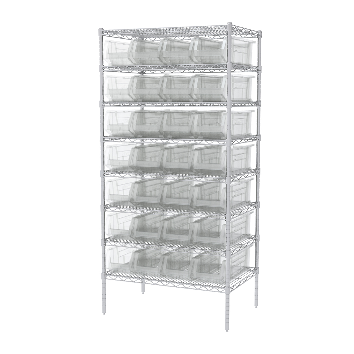 Wire Shelving Kit, 24x36x74, 28 Bins, Chrome/Clear (AWS24360284SC).  This item sold in carton quantities of 1.