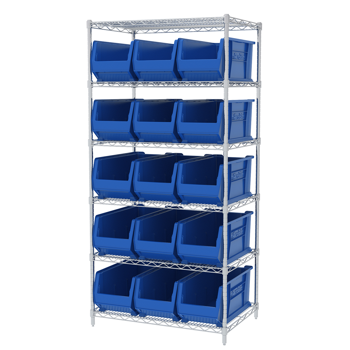 Wire Shelving Kit, 24x36x74, 16 Bins, Chrome/Blue (AWS24360287B).  This item sold in carton quantities of 1.