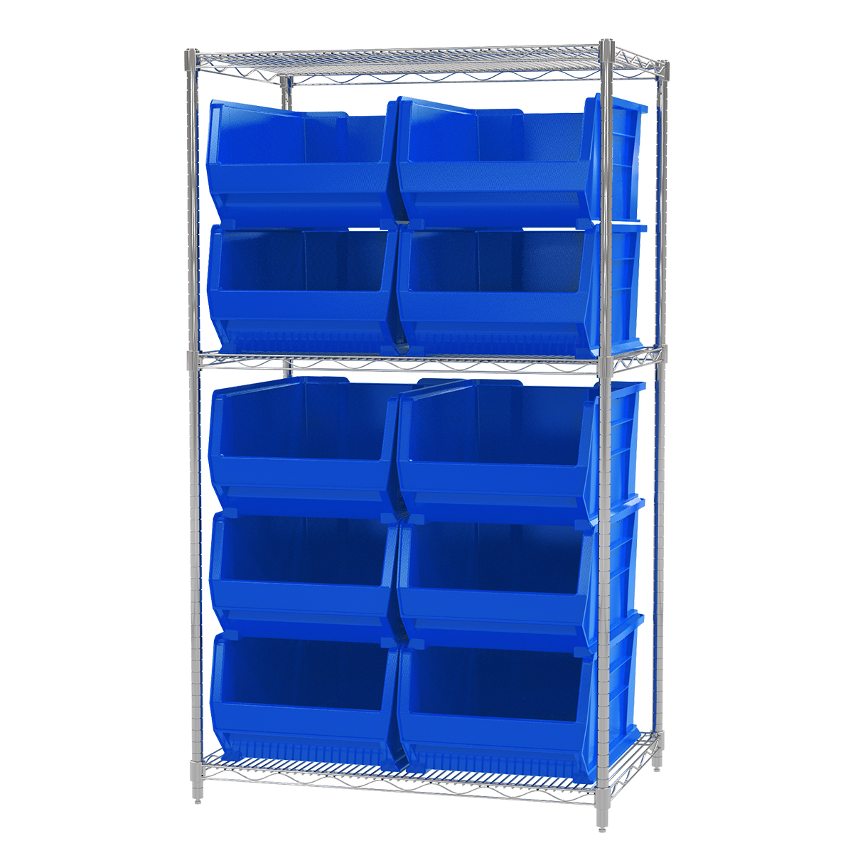 Wire Shelving Kit, 24x36x63, 10 Bins, Chrome/Blue (AWS24361288B).  This item sold in carton quantities of 1.