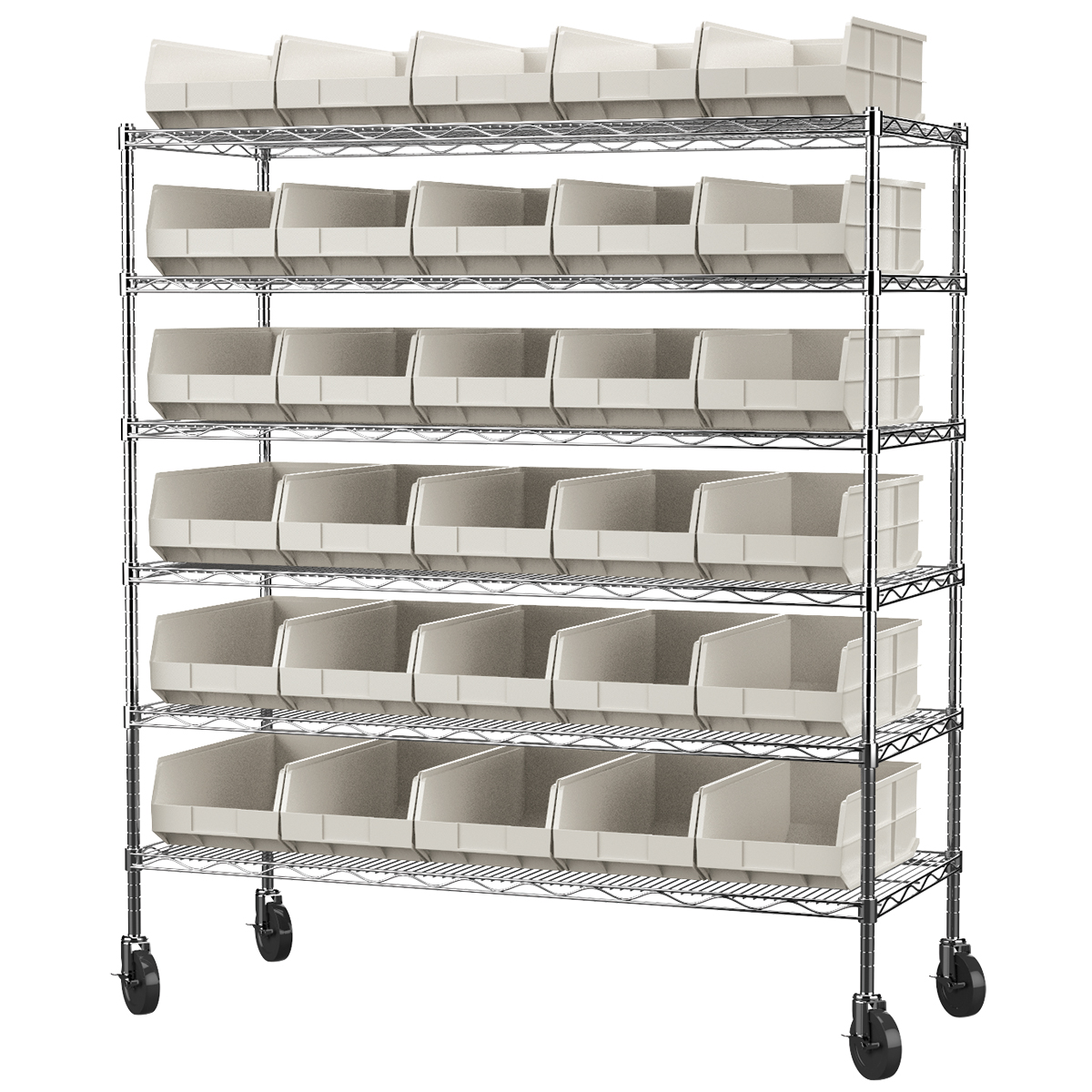 Mobile Wire Shelving Kit, 24x60x68, 30 Bins, Chrome/Stone (AWS2460M30358).  This item sold in carton quantities of 1.