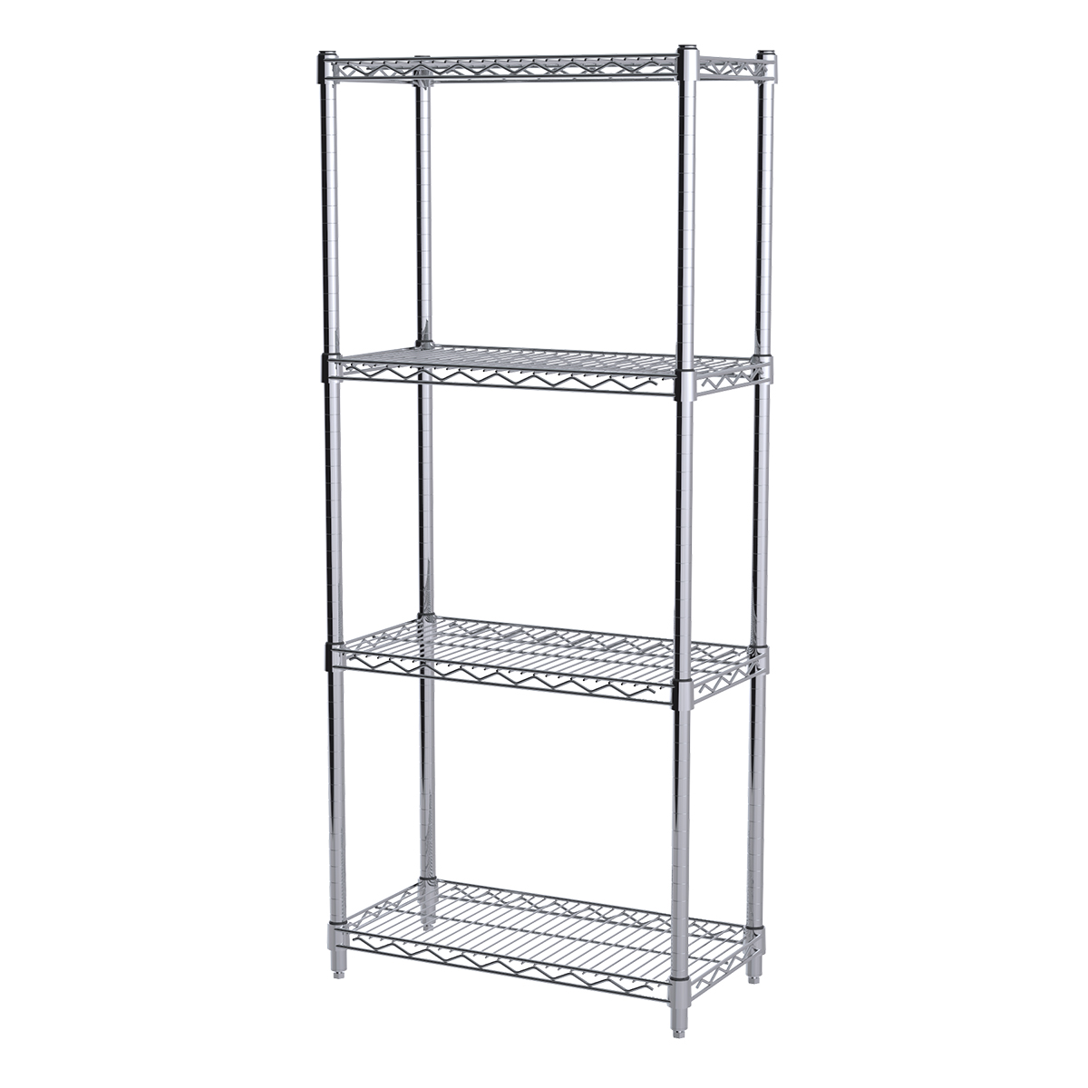 12x24x54, 4-Shelf Wire Shelving Starter Unit, Chrome.  This item sold in carton quantities of 1.