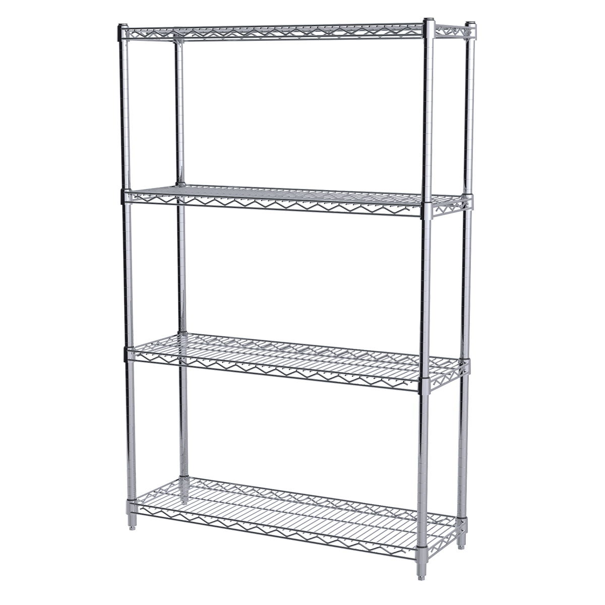 12x36x54, 4-Shelf Wire Shelving Starter Unit, Chrome.  This item sold in carton quantities of 1.