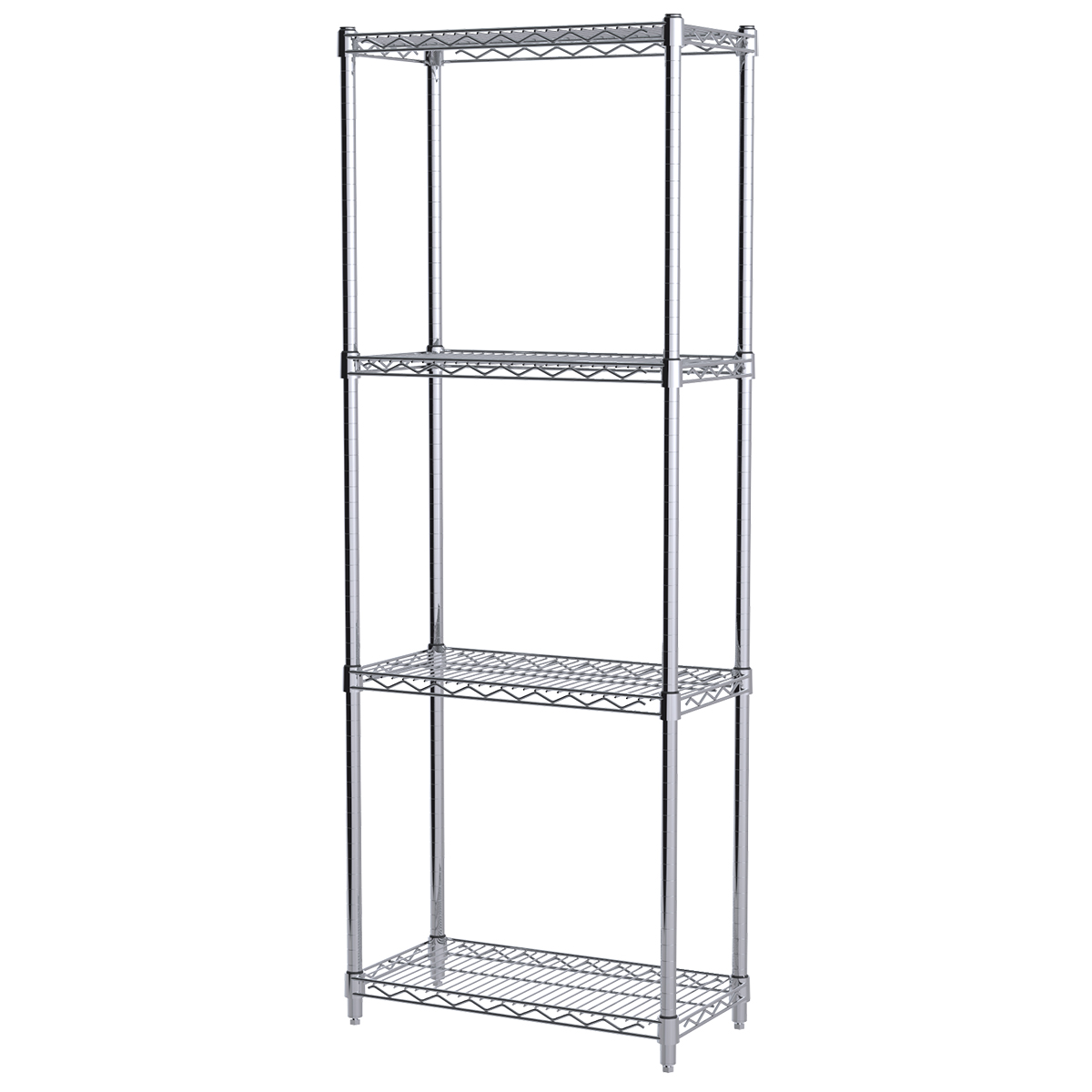 12x24x63, 4-Shelf Wire Shelving Starter Unit, Chrome.  This item sold in carton quantities of 1.