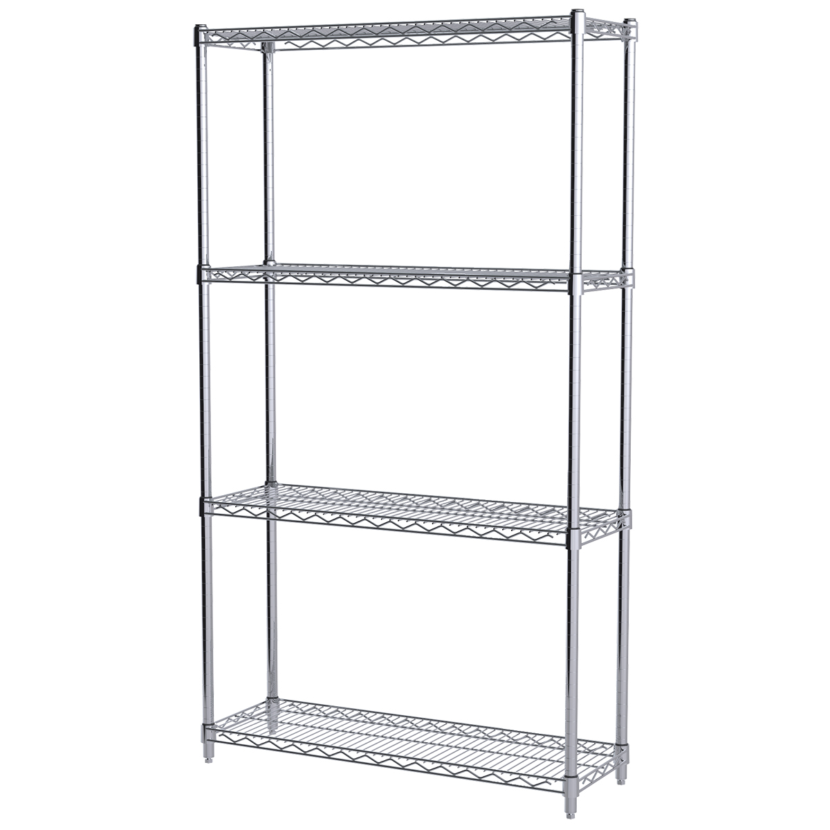 12x36x63, 4-Shelf Wire Shelving Starter Unit, Chrome.  This item sold in carton quantities of 1.