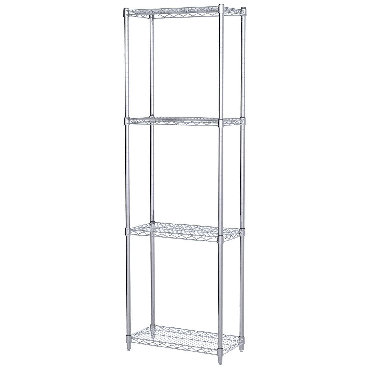 12x24x74, 4-Shelf Wire Shelving Starter Unit, Chrome.  This item sold in carton quantities of 1.