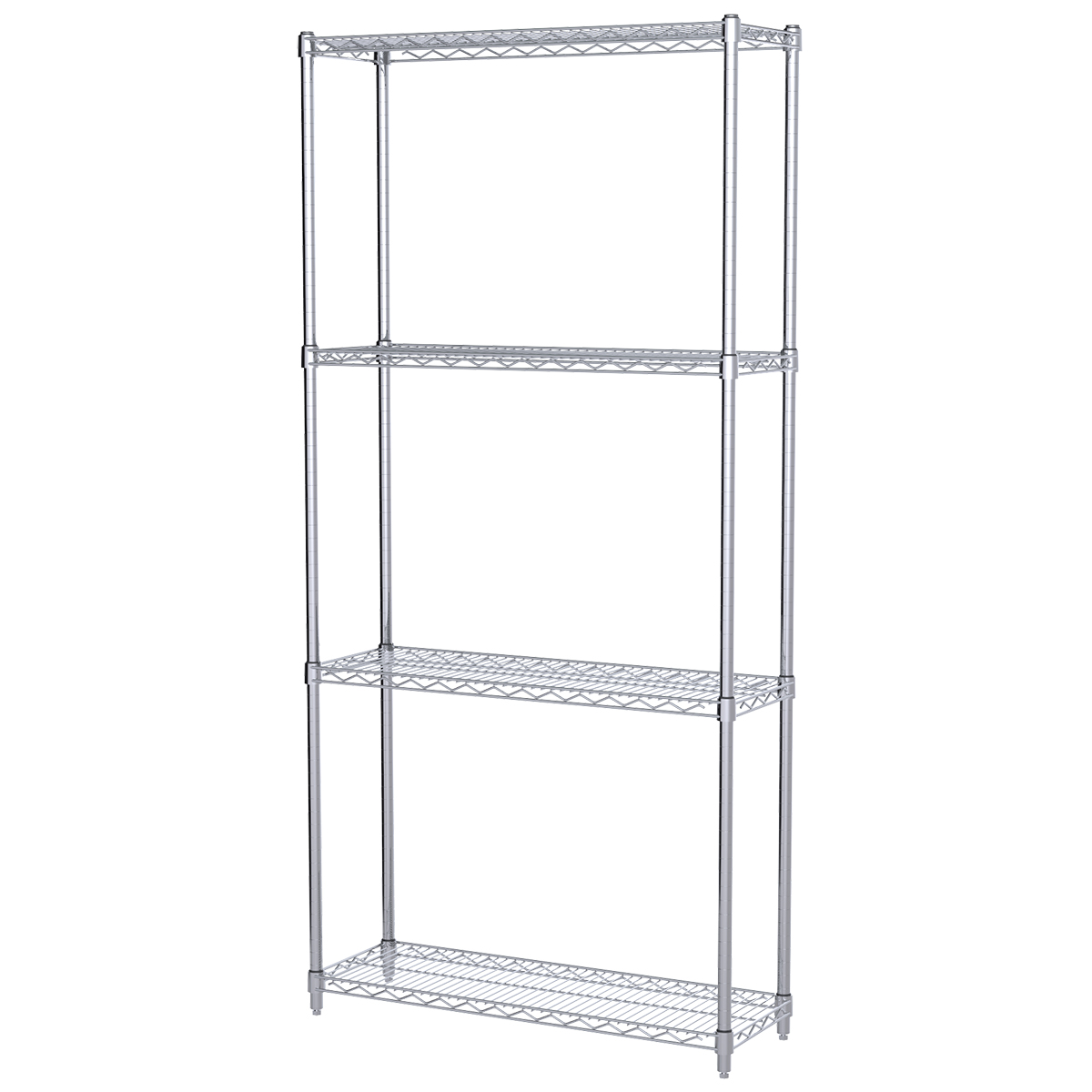 12x36x74, 4-Shelf Wire Shelving Starter Unit, Chrome.  This item sold in carton quantities of 1.