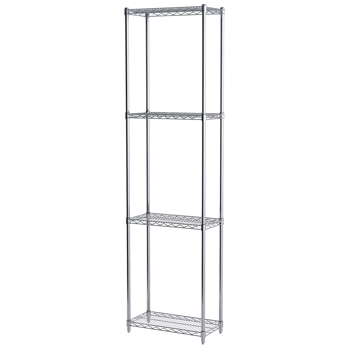 12x24x86, 4-Shelf Wire Shelving Starter Unit, Chrome.  This item sold in carton quantities of 1.